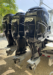 triple set mercury verado 350s outboard motors